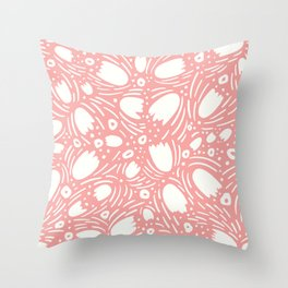 Floral Reverie in Coral Throw Pillow