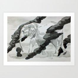 Wind and Elephant Art Print