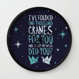 Two Cranes in a Sea of Color Wall Clock