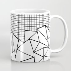 Abstract Outline Grid Black on White Mug