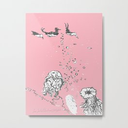 Two Tailed Duck and Jellyfish Baby Pink Deep Metal Print