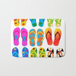 Sandals Colorful Fun Beach Theme Summer Bath Mat