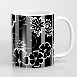Abstract white and black flowers with background Coffee Mug