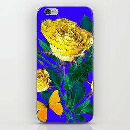 ROSES & YELLOW BUTTERFLIES INDIGO PURPLE VIGNETTE ABSTRACT iPhone Skin