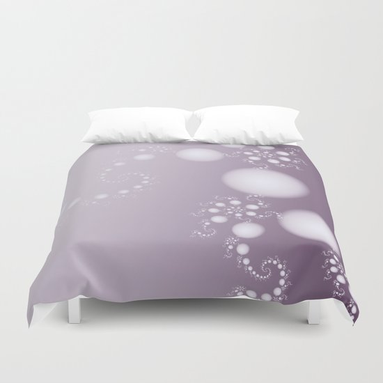 Fractal Pearls in Lavender Duvet Cover