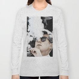 Cigar Smoker Cigar Lover JFK Gifts Black And White Photo Tee Shirt Long Sleeve T-shirt