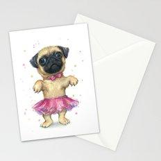 Pug in a Tutu Cute Animal Whimsical Dog Portrait Stationery Cards
