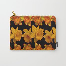 GOLDEN DAFFODILS GARDEN  COFFEE BROWN-BLACK ART Carry-All Pouch