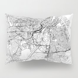 Copenhagen White Map Pillow Sham