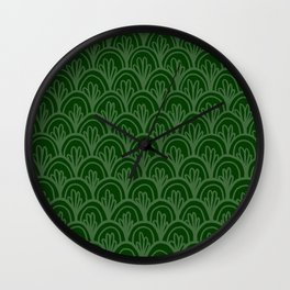 Forest Green Fancy Scales Wall Clock