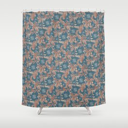 Water Swingers in Deep Wave ( leafy sea dragon pattern in teal and coral ) Shower Curtain