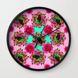 GREEN PEACOCK &  PINK ROSE GARDEN PINK PATTERN Wall Clock