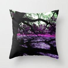 Oak Shadows Pink Throw Pillow