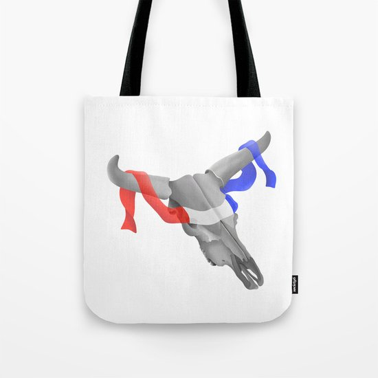 Patriotic Cow Skull Tote Bag