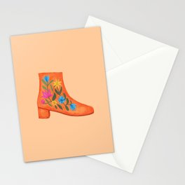 These boots are made for walking | Embroidered ankle boots Stationery Cards