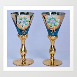 Aqua Blue Bohemian Cordial Glasses Art Print