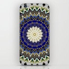 Bohemian Bright Blue and Gold Mandala iPhone Skin