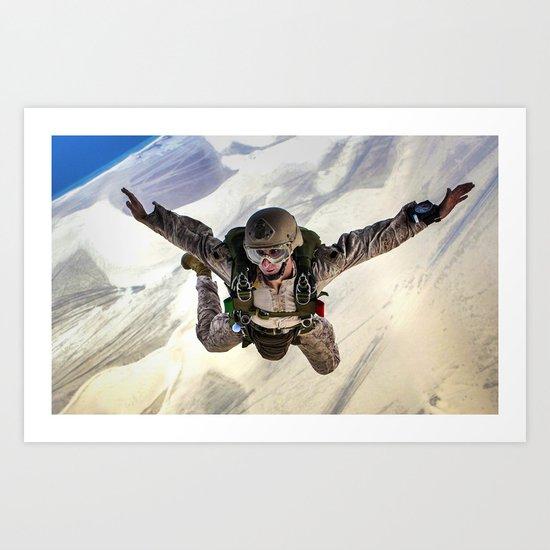 Parachuting falling Art Print