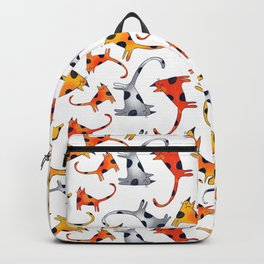 Crazy Cats Pattern Orange Red and Gray Backpack