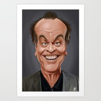 celebrity Art Prints featuring Celebrity Sunday ~ Jack Nicholson by rob art | illustration