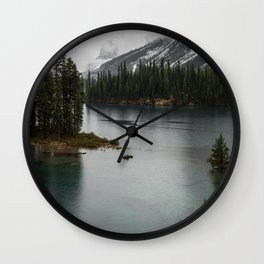 Landscape Photography Maligne Lake Island Wall Clock