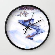 Open Stream In Winter Wall Clock