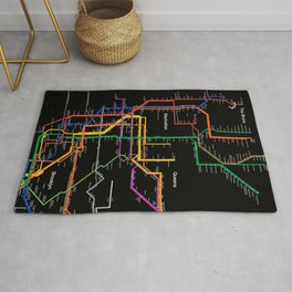 New York City subway map Rug