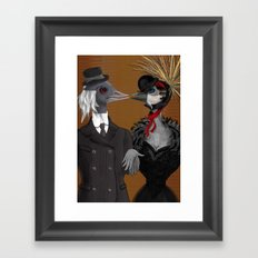 Demoiselle Crane and Grey Crowned Crane Framed Art Print