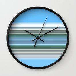 Sky Blue Green Stripes Wall Clock