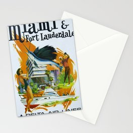 Vintage Fort Lauderdale - Miami, Florida Delta Airlines Advertisement Poster Stationery Cards