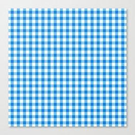 Gingham Print - Blue Canvas Print