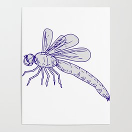 Dragonfly Flying Drawing Side Poster