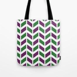 Purple, green and white chevron pattern Tote Bag