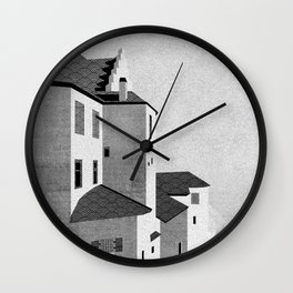 Castle in the Sky | Black & White Wall Clock
