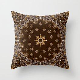 Brown Bandanna Pattern Throw Pillow