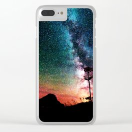 Colorful Milky Way Landscape Clear iPhone Case