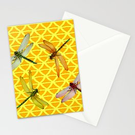 DRAGONFLIES PATTERNED YELLOW-BROWN ORIENTAL SCREEN Stationery Cards
