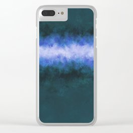 Slate Blue Steel Abstract Clear iPhone Case