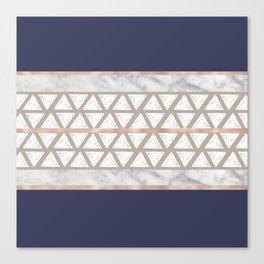 Dark blue marble triangle geometric pattern Canvas Print