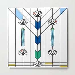 Frank Lloyd Wright Waterlilies and Ennis Metal Print