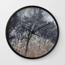 Afternoon Stroll Down a Cold Snowy Street Wall Clock