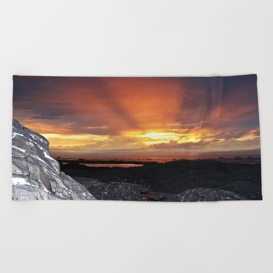 Sunset on the Rocks Beach Towel