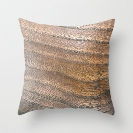 Warm Waved Wood Throw Pillow