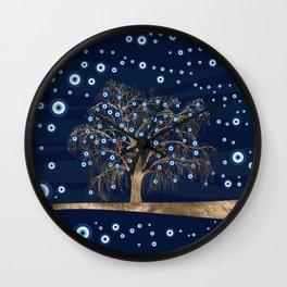 Nazar Charm Tree - Gold on Dark Blue Wall Clock