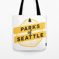 parks Tote Bags featuring Parks of Seattle by Parks of Seattle
