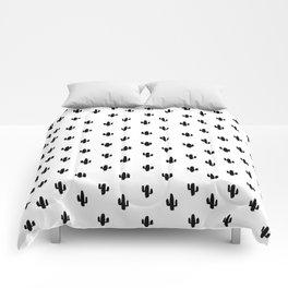 Tiny black cactus Comforters