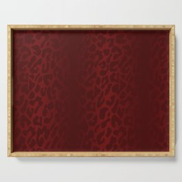 Blood Red Shadowed Leopard Print Serving Tray