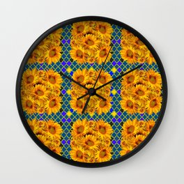 BLOCKS OF YELLOW SUNFLOWERS ON TEAL & PURPLE PATTERN Wall Clock