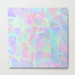 Holographic Low Poly Pattern Metal Print