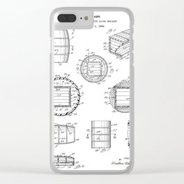 Whisky Barrel Patent - Whisky Art - Black And White Clear iPhone Case